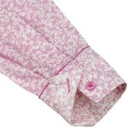 Grenouille Ladies Long Sleeve Pink with Small White Flower Print Shirt